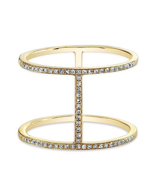 Anne Sisteron | Metallic 14kt Yellow Gold Diamond H Trois Ring | Lyst