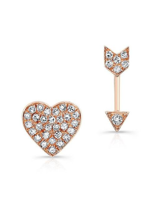 Anne Sisteron | Metallic 14kt Rose Gold Diamond Cupid Earrings | Lyst