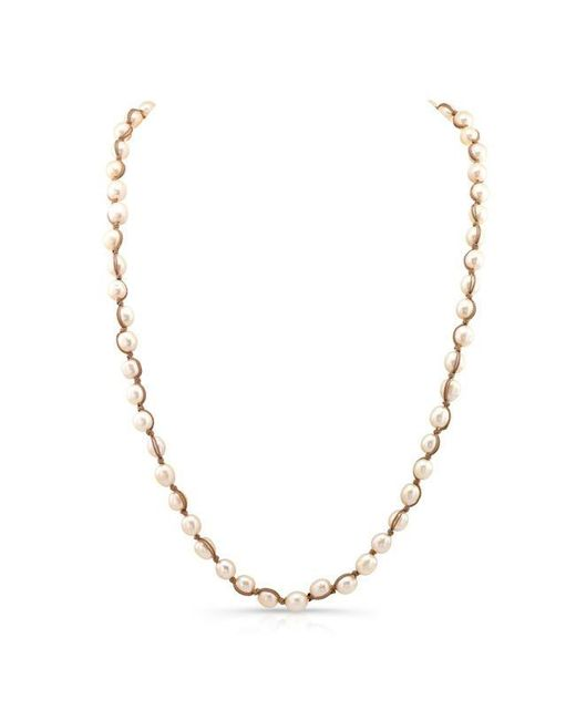Anne Sisteron | Metallic Champagne Pearl Macrame Necklace | Lyst