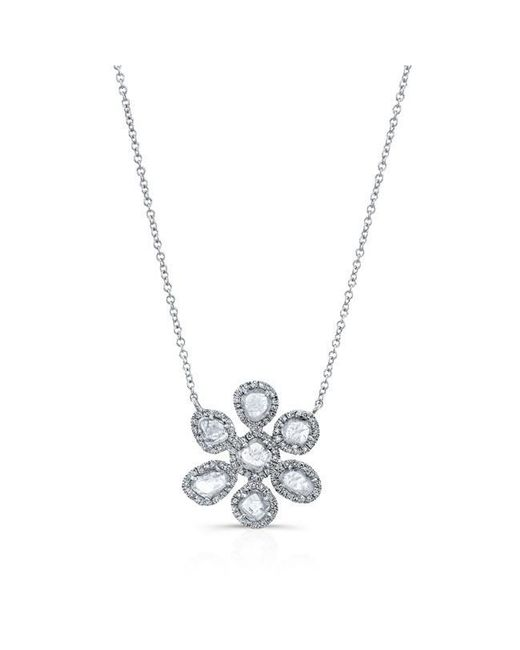 Anne Sisteron | Metallic 14kt White Gold Mae Large Diamond Slice Necklace | Lyst