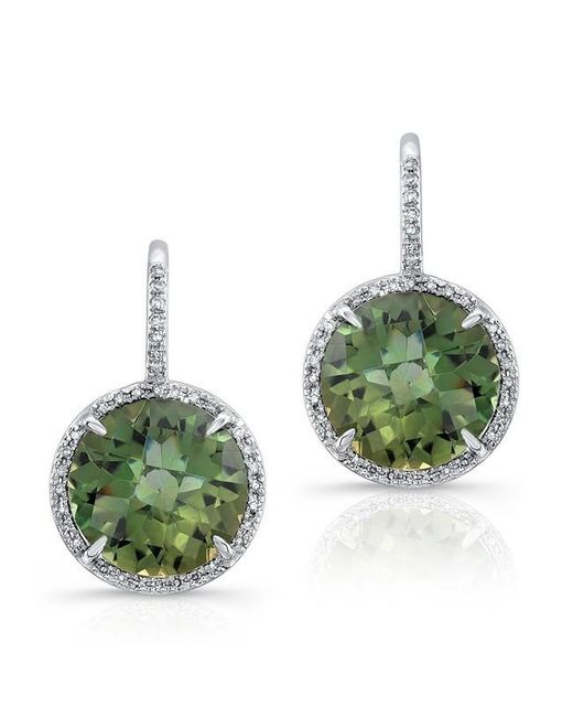 Anne Sisteron | 14kt White Gold Green Amethyst Diamond Round Earrings | Lyst