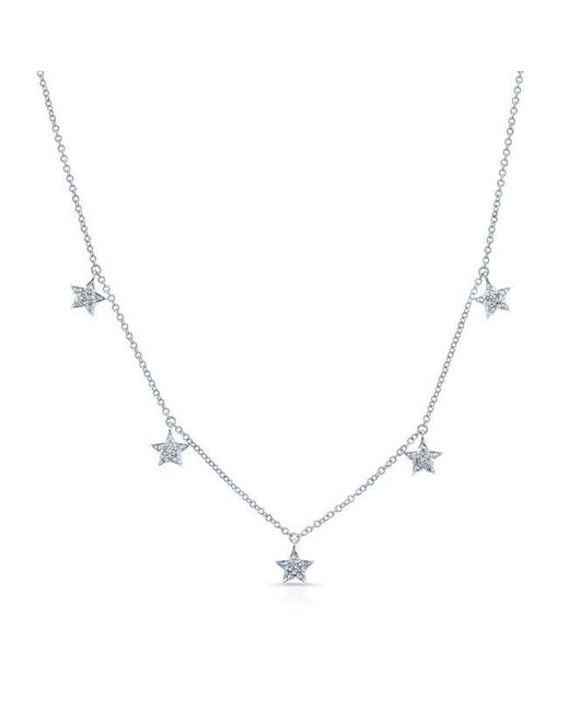 Anne Sisteron | Metallic 14kt White Gold Diamond Stars Necklace | Lyst