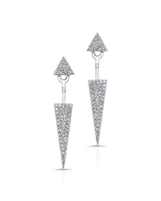 Anne Sisteron | 14kt White Gold Diamond Double Triangle Floating Earrings | Lyst