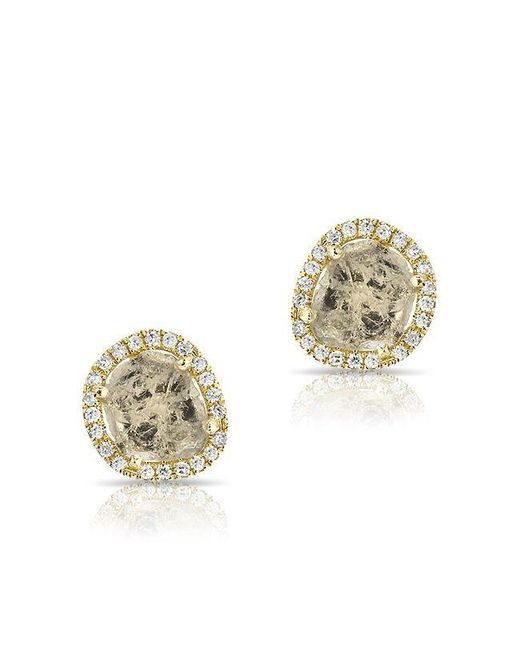 Anne Sisteron | Metallic 14kt Yellow Gold Diamond Slice Stud Earrings | Lyst