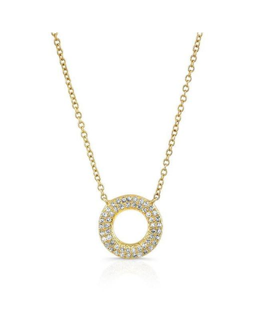 Anne Sisteron | Metallic 14kt Yellow Gold Diamond Open Circle Necklace | Lyst