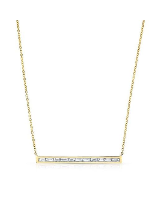 Anne Sisteron | Metallic 14kt Yellow Gold Diamond Baguette Thin Bar Necklace | Lyst