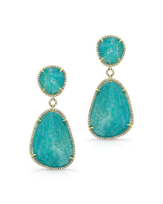 Anne Sisteron | Blue 14kt Yellow Gold Amazonite Diamond Earrings | Lyst