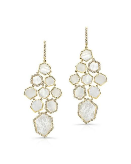 Anne Sisteron   Multicolor 14kt Yellow Gold White Mother Of Pearl Diamond Chandelier Earrings   Lyst