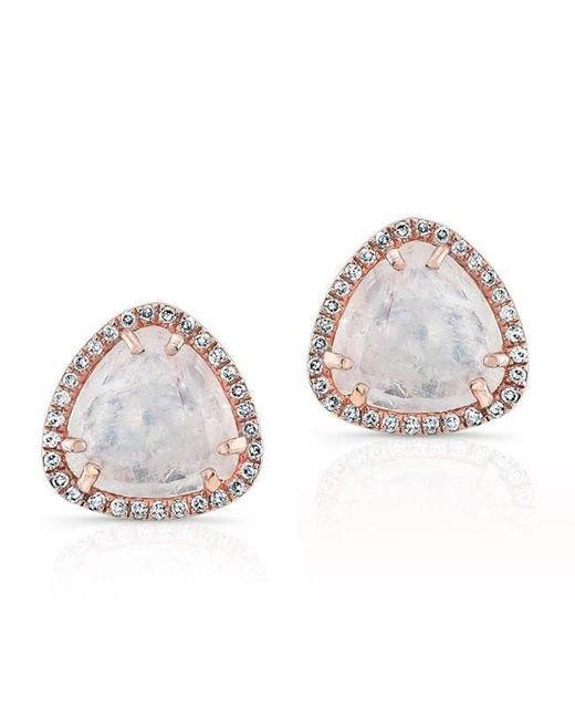 Anne Sisteron - Multicolor 14kt Rose Gold Diamond Moonstone Stud Earrings - Lyst