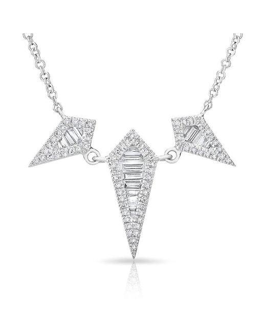 Anne Sisteron - Metallic 14kt White Gold Baguette Diamond Triple Spear Necklace - Lyst