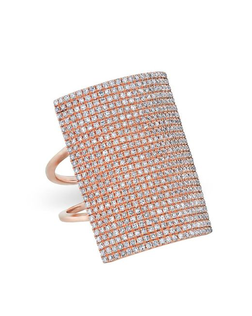 Anne Sisteron   Multicolor 14kt Rose Gold Diamond Rectangle Armor Ring   Lyst