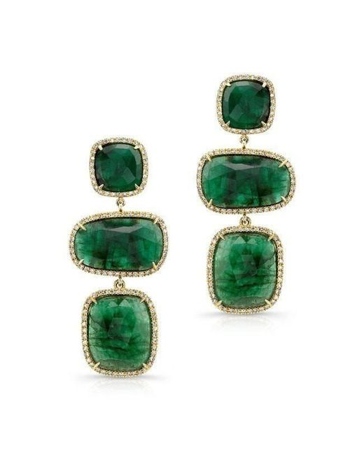 Anne Sisteron - Green 18kt Yellow Gold Emerald And Diamond Triple Drop Earrings - Lyst