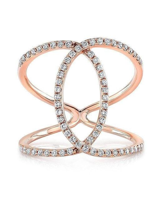 Anne Sisteron - Metallic 14kt Rose Gold Diamond Cigar Band Ring - Lyst