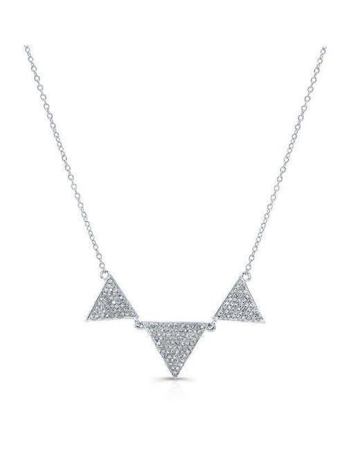 Anne Sisteron - Metallic 14kt White Gold Diamond Triple Triangle Necklace - Lyst