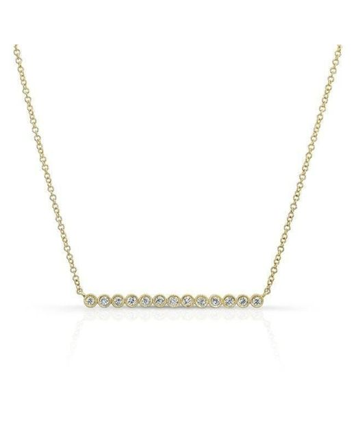 Anne Sisteron - Metallic 14kt Yellow Gold Bezel Set Diamond Bar Necklace - Lyst