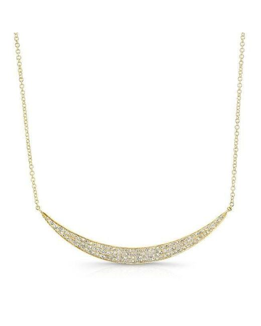 Anne Sisteron | Metallic 14kt Yellow Gold Diamond Wide Crescent Necklace | Lyst