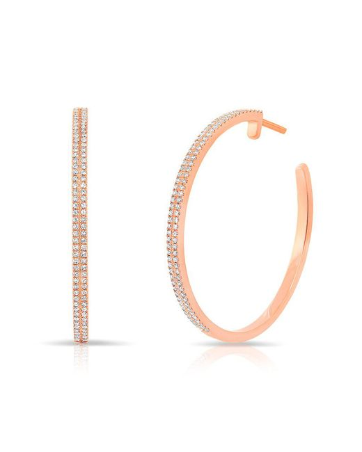 "Anne Sisteron | Metallic 14kt Rose Gold Diamond 1 1/4"" Hoop Earrings 