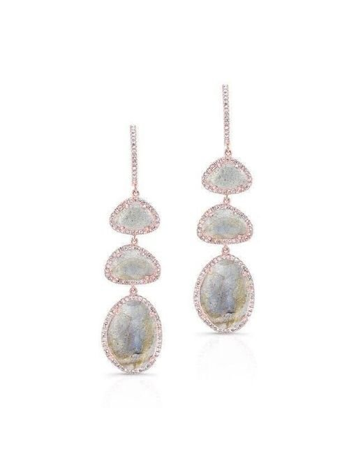 Anne Sisteron - Metallic 14kt Rose Gold Labradorite Diamond Trickle Earrings - Lyst