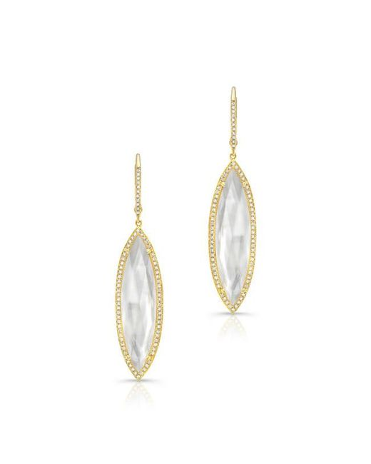 Anne Sisteron | Metallic 14kt Yellow Gold Diamond Mother Of Pearl Celeste Marquis Earrings | Lyst