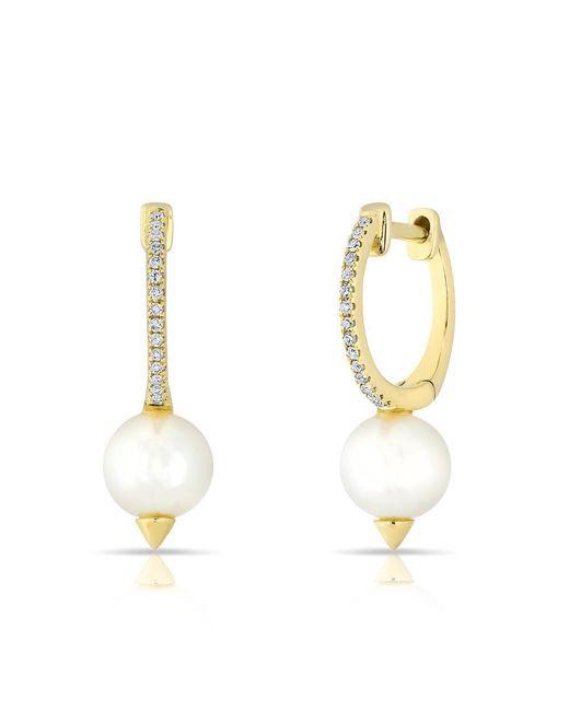 Anne Sisteron - Metallic 14kt Yellow Gold Diamond Spiked Pearl Moriah Huggie Earrings - Lyst