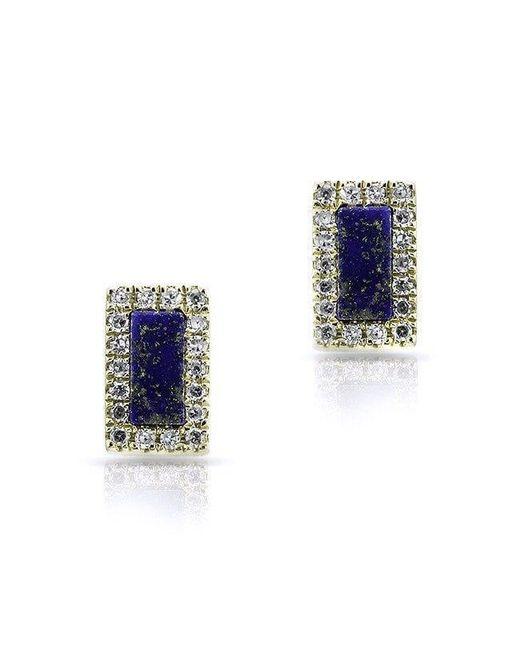 Anne Sisteron - Blue 14kt Yellow Gold Lapis Diamond Bar Stud Earrings - Lyst