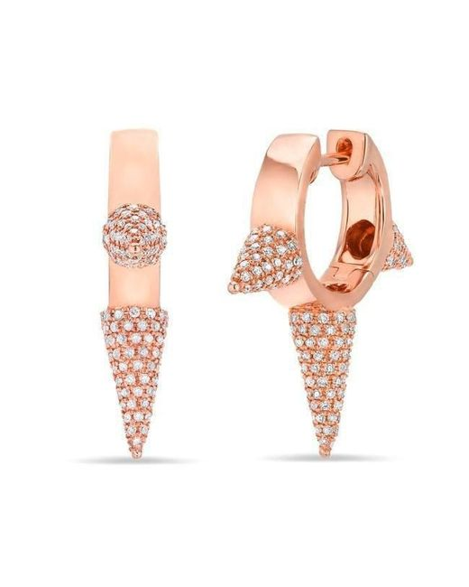 Anne Sisteron - Pink 14kt Rose Gold Diamond Extreme Punk Rock Huggie Earrings - Lyst
