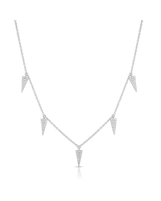 Anne Sisteron - Metallic 14kt White Gold Diamond Triangle Drops Necklace - Lyst