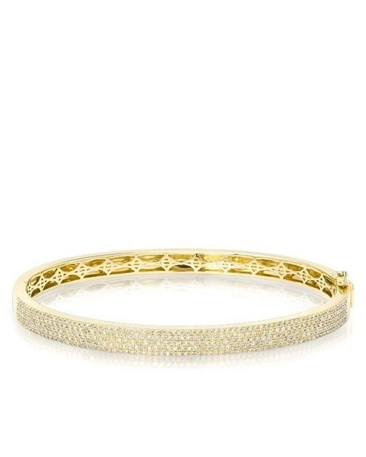 Anne Sisteron | Multicolor 14kt Yellow Gold Half Pave Diamond Bangle | Lyst
