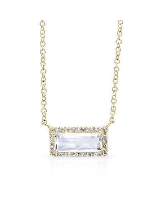 Anne Sisteron - Metallic 14kt Yellow Gold Rectangle White Topaz Diamond Necklace - Lyst