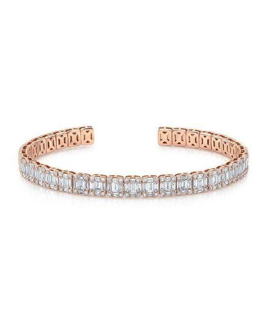 Anne Sisteron - Metallic 18kt Rose Gold Baguette Diamond Luxe Cuff Bracelet - Lyst