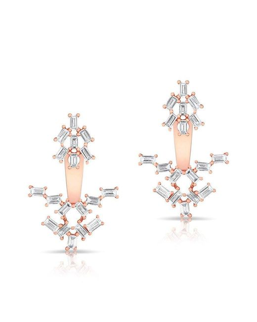 Anne Sisteron - Metallic 14kt Rose Gold Baguette Diamond Anastasia Floating Earrings - Lyst