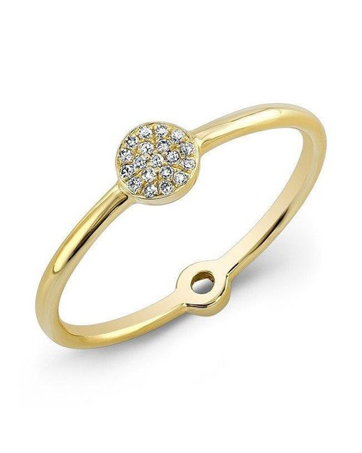 Anne Sisteron - Metallic 14kt Yellow Gold Diamond Mini Disc Ring - Lyst