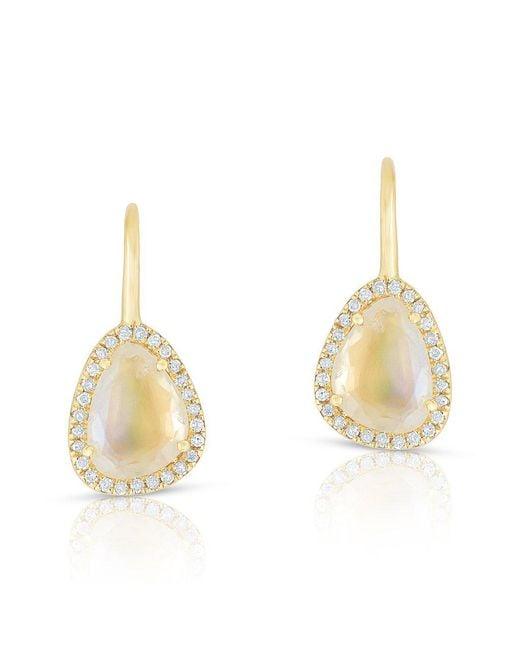 Anne Sisteron - Metallic 14kt Yellow Gold Diamond Moonstone Organic Wireback Earrings - Lyst