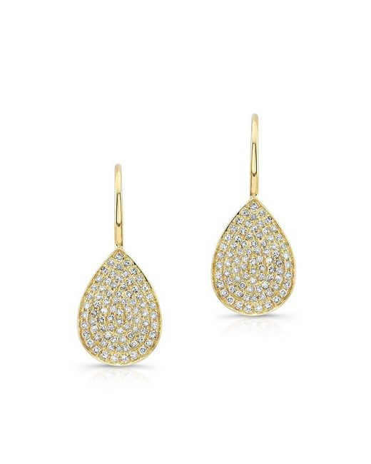 Anne Sisteron - Metallic 14kt White Gold Diamond Small Pear Shaped Earrings - Lyst
