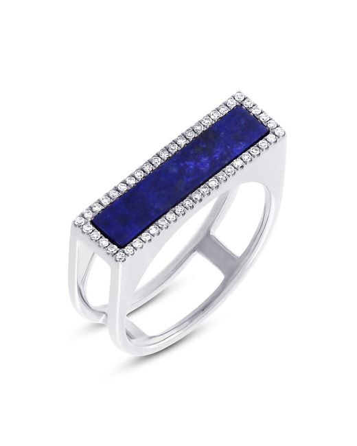 Anne Sisteron - Metallic 14kt White Gold Lapis Lazuli Diamond Bar Ring - Lyst