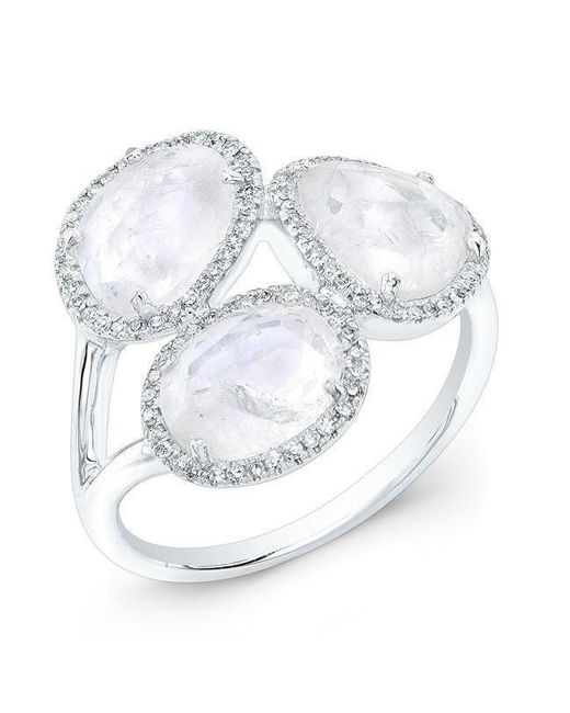 Anne Sisteron - Multicolor 14kt White Gold Moonstone Diamond Trinity Ring - Lyst