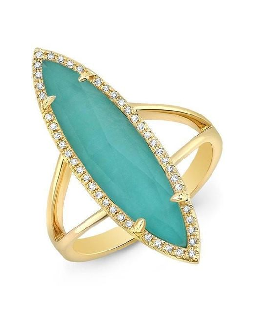 Anne Sisteron | Multicolor 14kt Yellow Gold Diamond Small Turquesa Ring | Lyst
