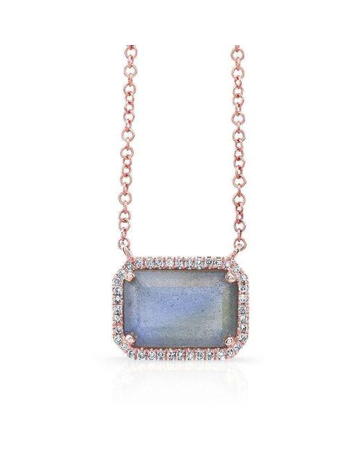 Anne Sisteron - Multicolor 14kt Rose Gold Rectangle Labradorite Diamond Necklace - Lyst