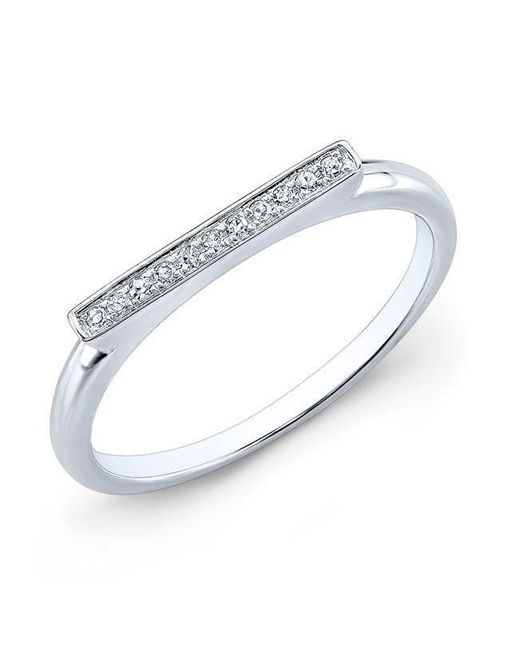 Anne Sisteron - Metallic 14kt White Gold Diamond Long Bar Ring - Lyst