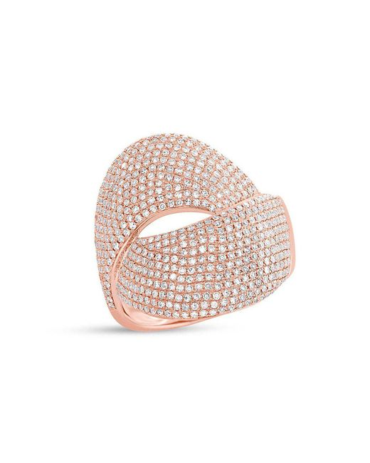 Anne Sisteron - Pink 14kt Rose Gold Diamond Luxe Twist Ring - Lyst