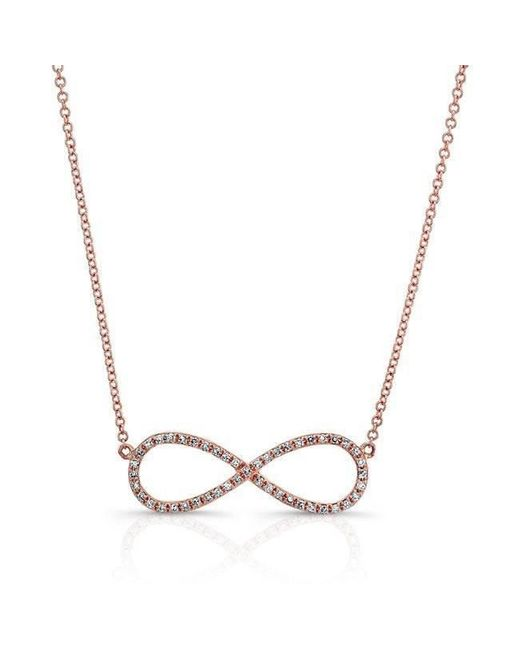 Anne Sisteron - Metallic 14kt Rose Gold Diamond Large Infinity Necklace - Lyst