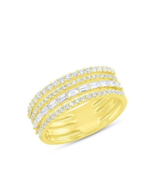Anne Sisteron - Metallic 14kt Yellow Gold Diamond Baguette Eternity Ring - Lyst
