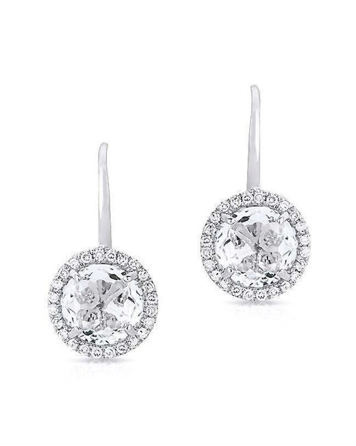 Anne Sisteron - 14kt White Gold Round White Topaz Diamond Earrings - Lyst
