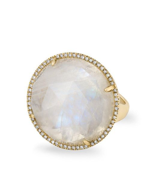 Anne Sisteron - Metallic 14kt Yellow Gold Moonstone Diamond Round Cocktail Ring - Lyst