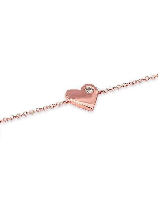 Anne Sisteron - Metallic 14kt Rose Gold Diamond In My Heart Bracelet - Lyst