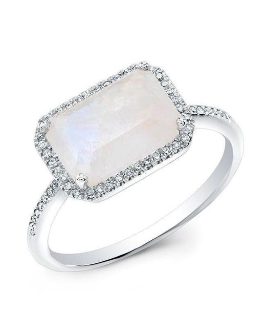 Anne Sisteron - Metallic 14kt White Gold Moonstone Diamond Chic Ring - Lyst