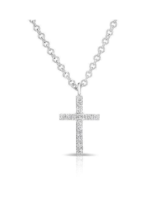 Anne Sisteron - Metallic 14kt White Gold Diamond Cross Necklace - Lyst