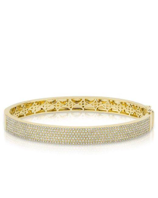 Anne Sisteron | Metallic 14kt Yellow Gold Diamond Belle Half Pave Bangle | Lyst