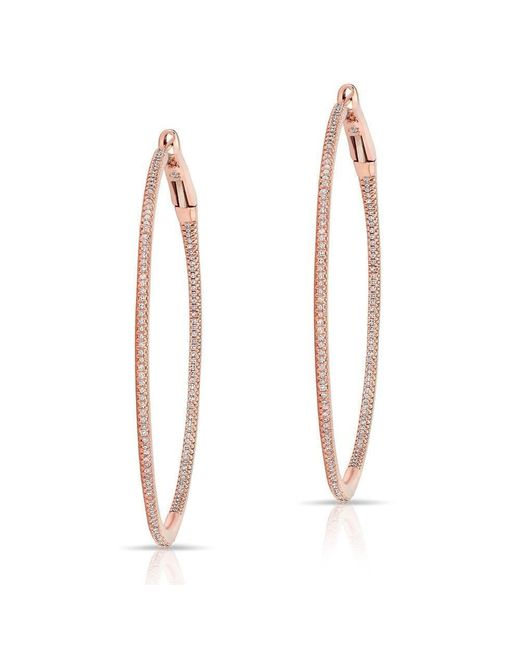"Anne Sisteron | Metallic 14kt Rose Gold Diamond 2"" Hoop Earrings 