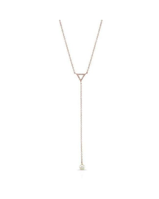 Anne Sisteron - Metallic 14kt Rose Gold Diamond And Pearl Lariat Necklace - Lyst